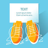 Shoes background and paper for text Stock Image