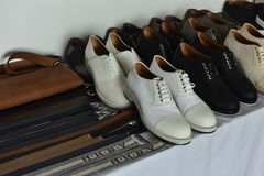Shoes backstage at the BOSS - Hugo Boss show during NYFW Mens Spring Summer 2018 Royalty Free Stock Photography