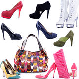 Shoes and bag collage Royalty Free Stock Photo