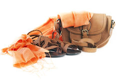 Shoes, bag and  scarf Royalty Free Stock Images