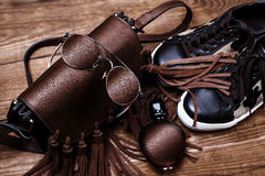 Shoes, bag, sunglasses and perfume. Leather accessories. Shoes, bag, sunglasses and perfume Stock Photography