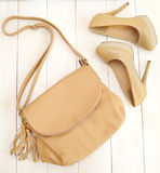 Shoes and bag on white background Royalty Free Stock Image