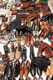 Shoes and bags on a flea market Royalty Free Stock Image