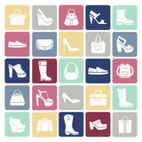 Shoes and bags icons in flat style Royalty Free Stock Image