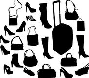 Shoes and bags isoated on white Stock Photos