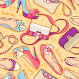 Shoes and bags. Seamless background of fashionable womens shoes and bags Stock Images