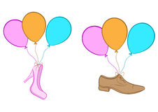 Shoes on balloons Stock Image
