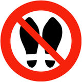 Shoes Banned. Shoes, Slippers are Banned Royalty Free Stock Image