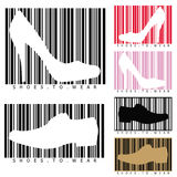 Shoes and barcodes. This image represents a concept for how to sell your shoes Royalty Free Stock Image