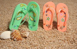 Shoes beach. Royalty Free Stock Images