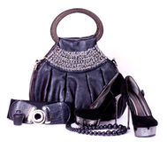 Shoes, beads and handbag Royalty Free Stock Photos