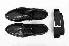 Shoes and belt Royalty Free Stock Images