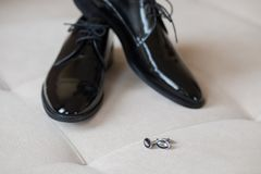 Shoes, belt and cufflings. Wedding accesories. Stock Images