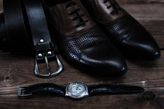 Shoes with belt and watch. Fashion shoes with belt and watch Royalty Free Stock Photos