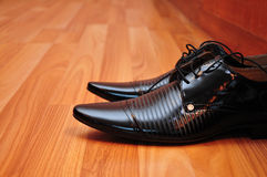 Shoes black masculine Royalty Free Stock Photography
