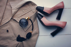 Shoes, blouse and perfume. Women's accessories. shoes, blouse and perfume Royalty Free Stock Photo