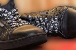 Shoes on a blurry background. Shoes on a blurry background, interesting baby shoelaces royalty free stock photo