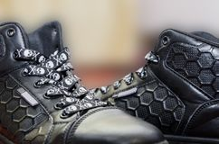 Shoes on a blurry background. Shoes on a blurry background, interesting baby shoelaces stock photography