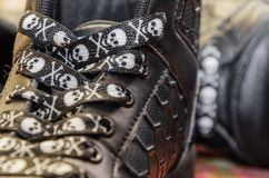 Shoes on a blurry background. Shoes on a blurry background, interesting baby shoelaces royalty free stock photography