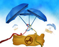 Shoes or boot not allowed symbol on wooden board and three blue umbrella in background binded using colorful ropes Stock Images