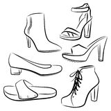 Shoes and boots set. Girl Female Woman Shoes Footwear Stock Image
