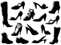 Shoes and boots silhouettes. Different kind of shoes and boots in silhouette Stock Photos