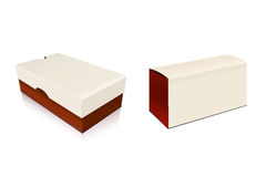 Shoes box. Two white red closed shoe boxes Stock Image
