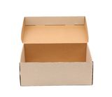 Shoes box. Is located on the white background Royalty Free Stock Photography