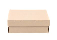 Shoes box is located on the white background Royalty Free Stock Photos