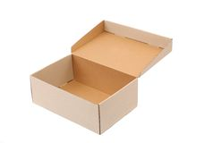 Shoes box is located on the white background Stock Photos