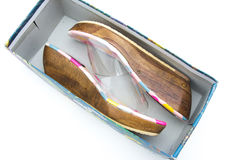 Shoes in the box. On white background Royalty Free Stock Photos