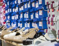 Shoes with boxes on the shelves in the shop. Shoes with boxes on the shelves in the store Royalty Free Stock Photography