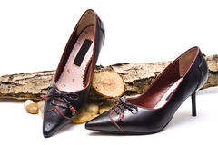 Shoes with branch. Black leather shoes with stone and branch stock images