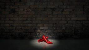 Shoes and bricks wall Royalty Free Stock Photos