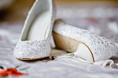 Shoes for the bride. Wedding shoes for the bride Stock Photos
