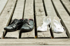 Shoes of the bride Stock Image