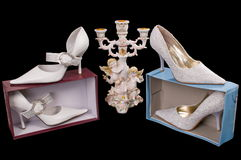 Shoes of the bride. Beautiful modelling magnificent shoes for the bride Royalty Free Stock Photography