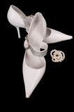 Shoes of the bride. Beautiful modelling magnificent shoes for the bride Royalty Free Stock Image