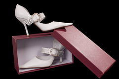 Shoes of the bride. Beautiful modelling magnificent shoes for the bride Stock Images