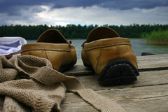 Shoes on the bridge stock photo