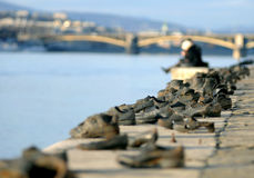 Shoes in Budapest. This is a honorary monument in Budapest for the Jewish who killed in the II. World War. They were shot to the Danube in 1944-1945 Royalty Free Stock Image