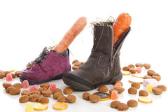 Shoes with carrots and ginger nuts for Sinterklaas, a typical Du Stock Photo