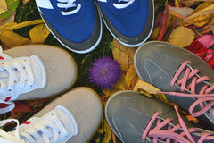 Shoes. Childrens shoes sports shoes feet Stock Images