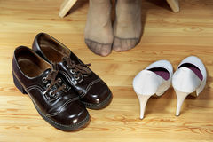 Shoes for choice. The choice of footwear for life Royalty Free Stock Images