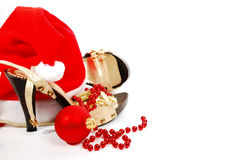 Shoes and Christmas ball Royalty Free Stock Photos