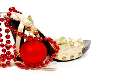 Shoes and Christmas ball Royalty Free Stock Images