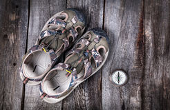 Shoes and compass Royalty Free Stock Photo