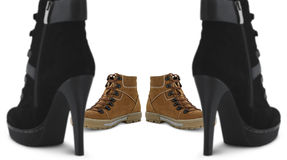 Shoes concept. Male and female shoes concept Royalty Free Stock Image