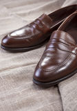 Shoes Concepts and Ideas. Closeup of Stylish Modern Brown Leather Shoes Royalty Free Stock Image