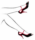 Shoes on the contour of the female feet. Black shoes on the contour of the female feet Stock Photo